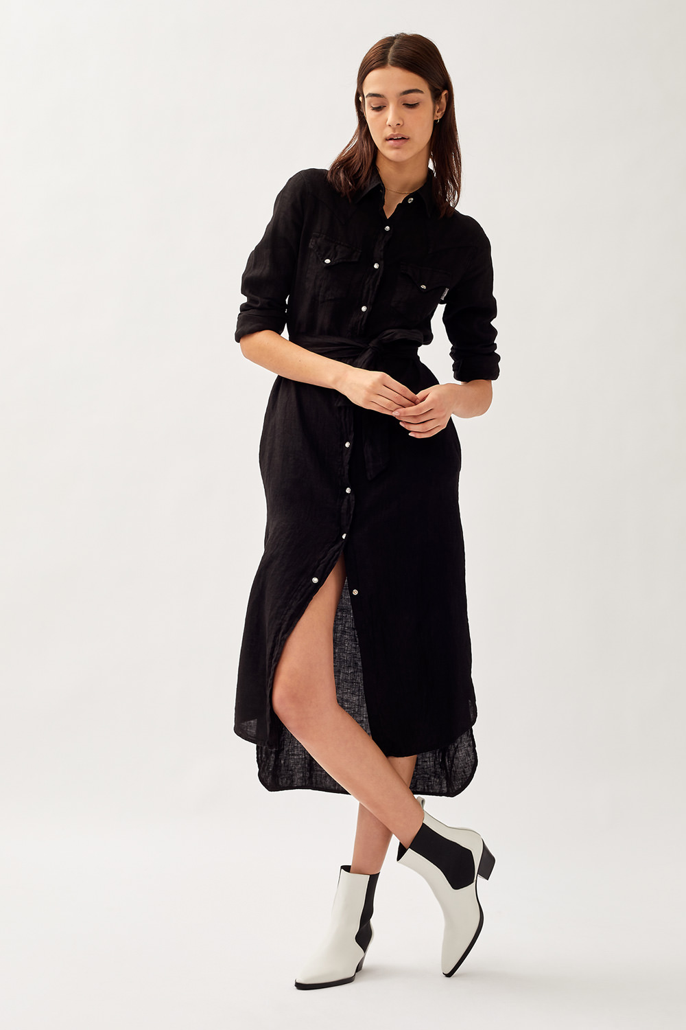 ROY ROGERS: MARLENA SHIRT DRESS IN DYED LINEN
