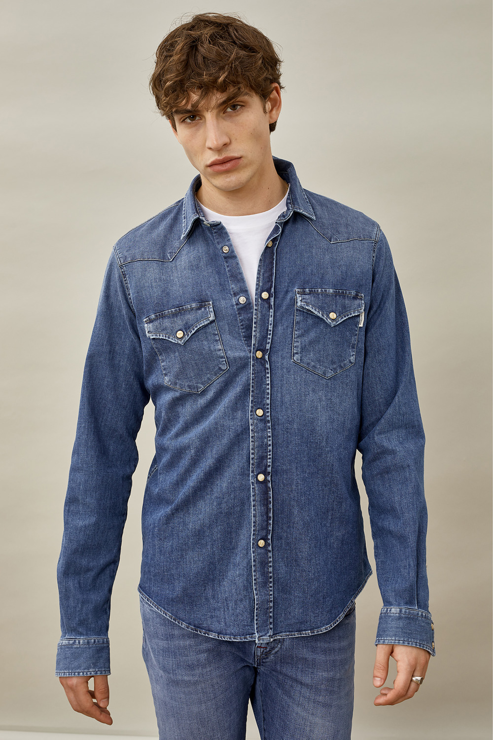 ROY ROGERS: CAMICIA DUDLEY FOLGER IN DENIM