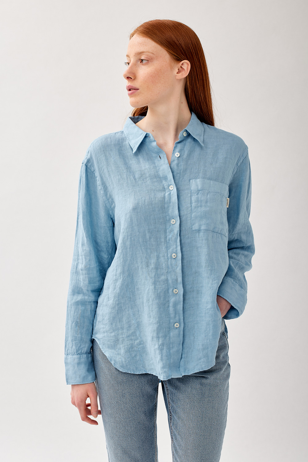 ROY ROGERS: CAMICIA EASY IN LINO DYED