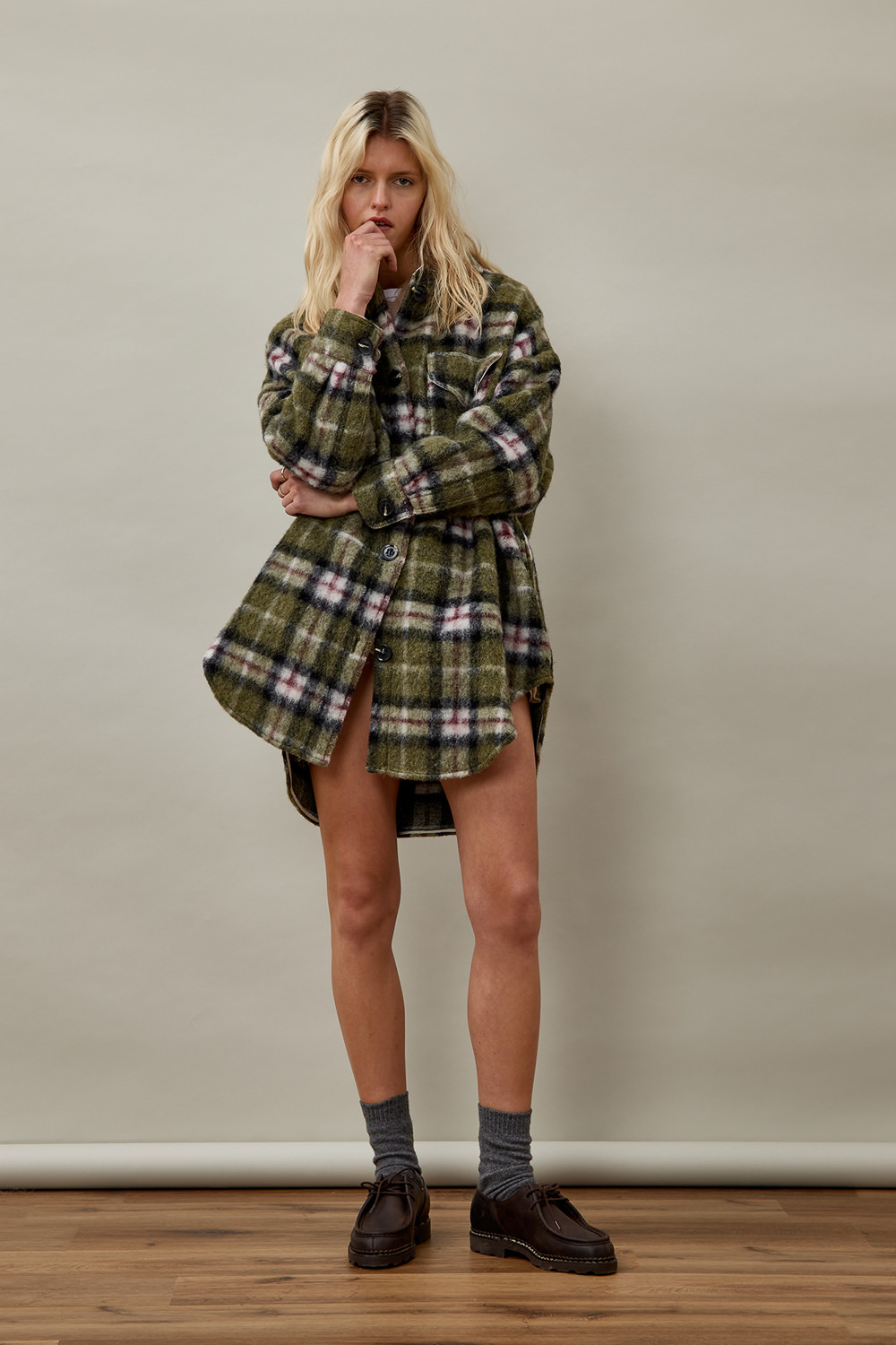 ROY ROGERS: LONG SAGE OVERSIZED SHIRT IN CHECK PRINT FABRIC