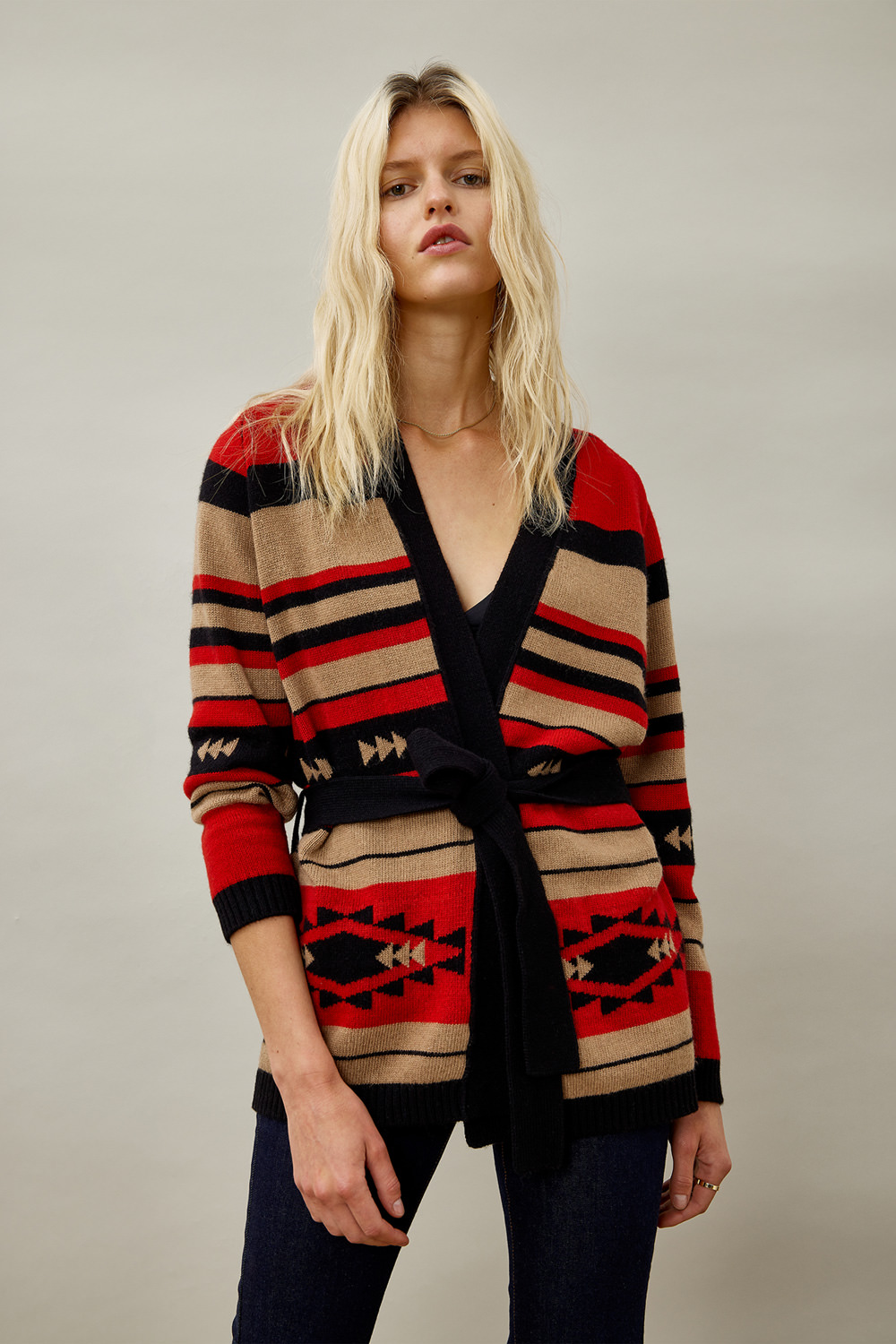 ROY ROGERS: ETHNIC CARDIGAN IN WOOL AND CASHMERE