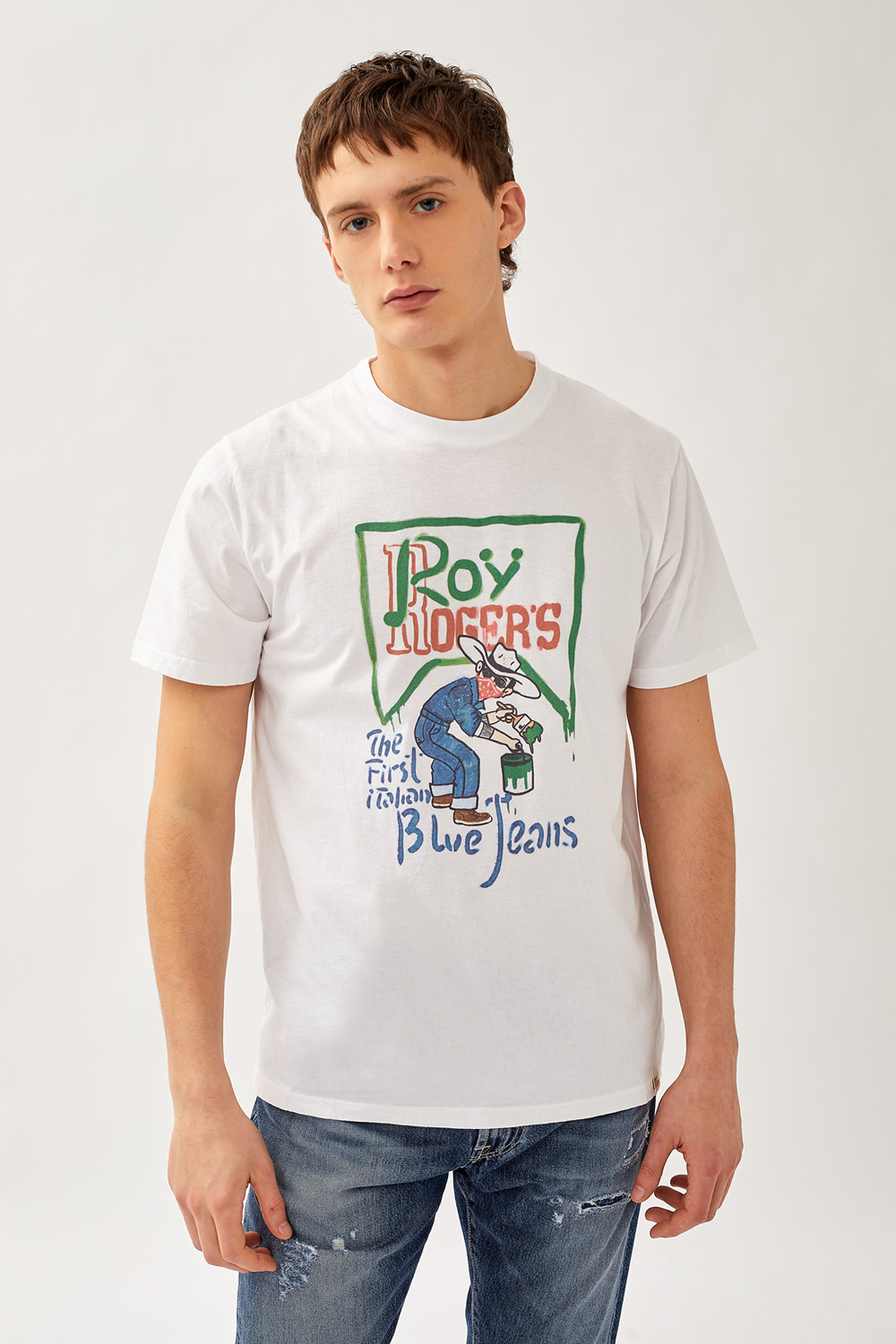 ROY ROGERS: BLUE JEANS PRINT T-SHIRT IN JERSEY