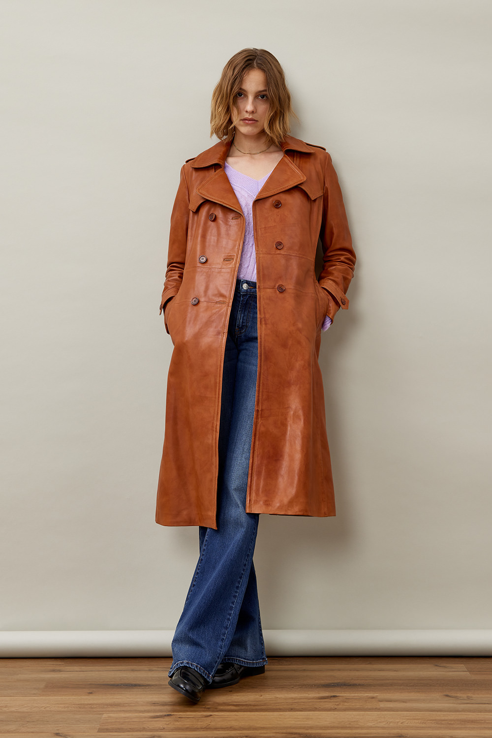 ROY ROGERS: RE-ISSUE TRENCH COAT IN LEATHER