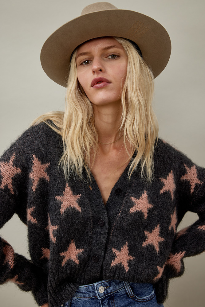 ROY ROGER'S CARDIGAN IN STAR MOHAIR