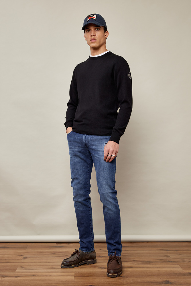 ROY ROGERS: BASIC CREW NECK SWEATER IN WOOL AND CASHMERE