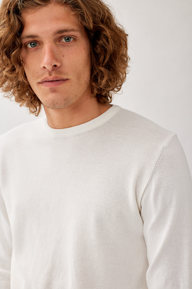 ROY ROGERS: CREW NECK SWEATER IN PINPOINT WEAVE COTTON
