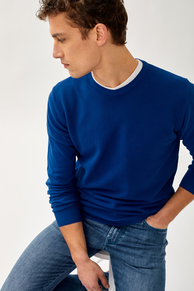 ROY ROGER'S CREW NECK SWEATER IN PINPOINT WEAVE COTTON