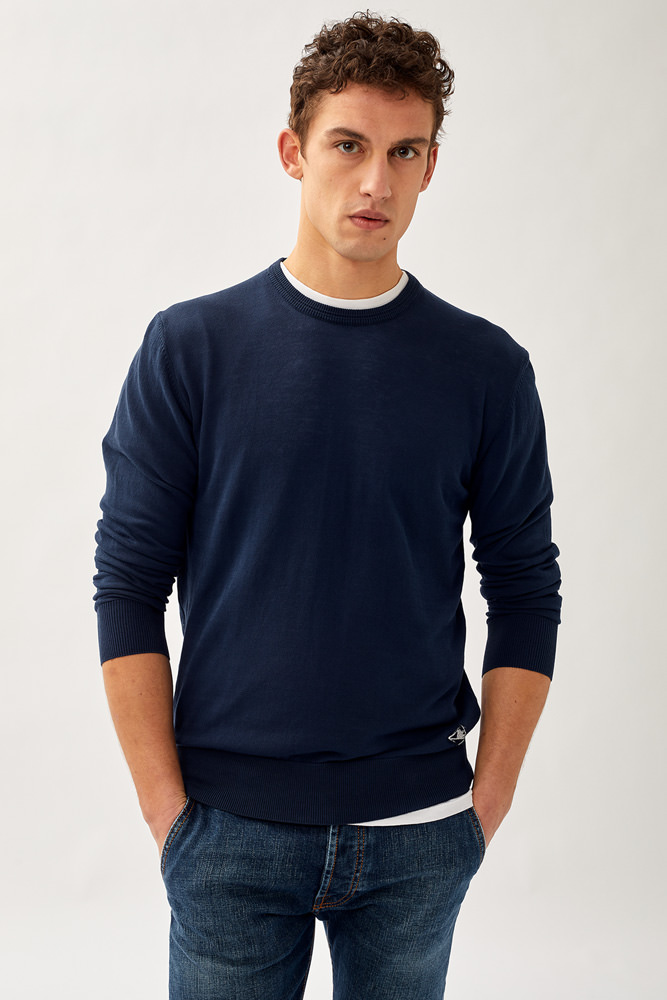 ROY ROGER'S CREW NECK SWEATER IN FIN.14 CREPE