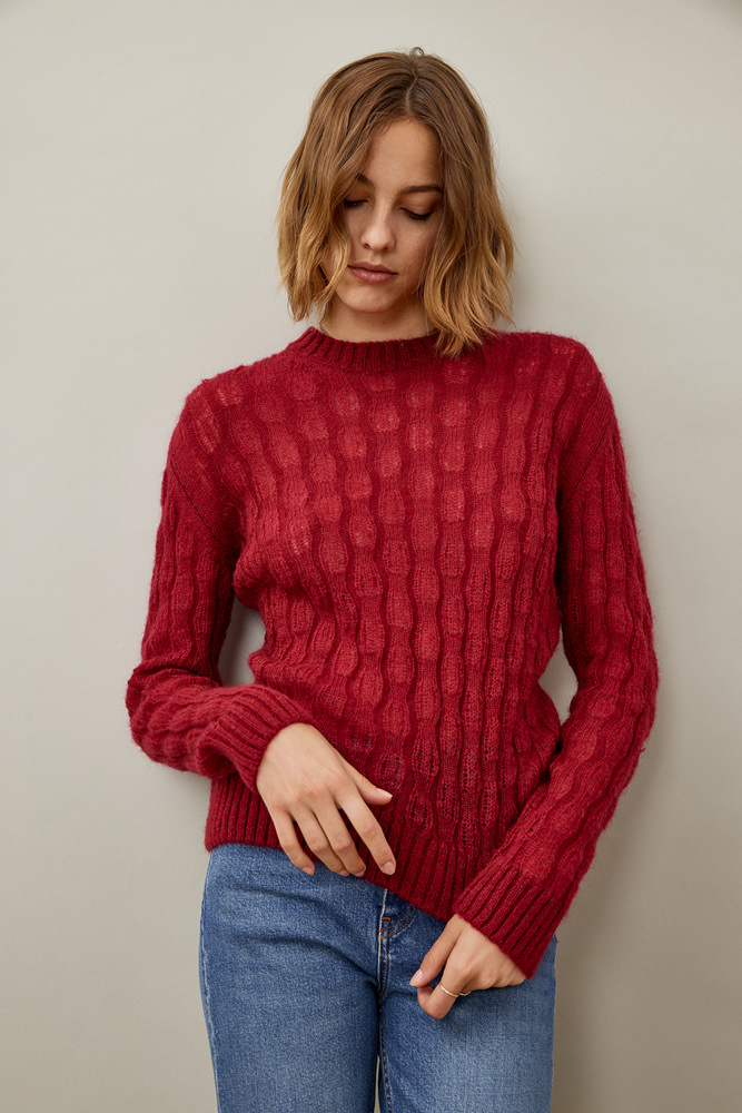 ROY ROGER'S CREW NECK SWEATER IN NEW BRAIDED STITCH MOHAIR