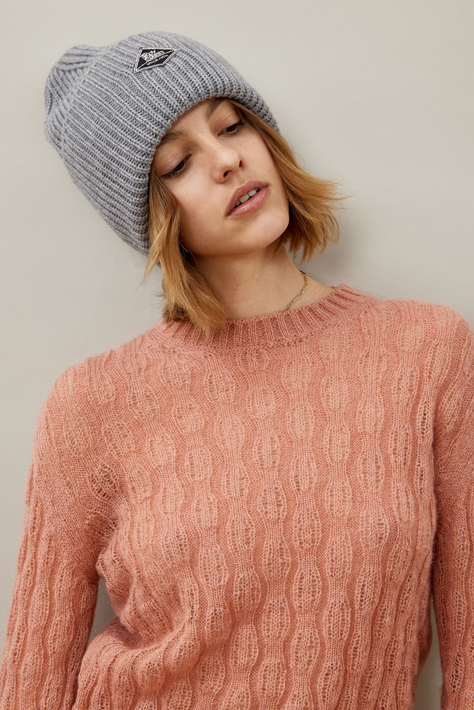 ROY ROGER'S CREW NECK SWEATER IN NEW BRAID STITCH MOHAIR
