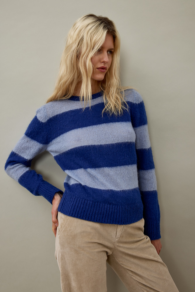ROY ROGER'S RE-ISSUE CREW NECK SWEATER IN STRIPED MOHAIR