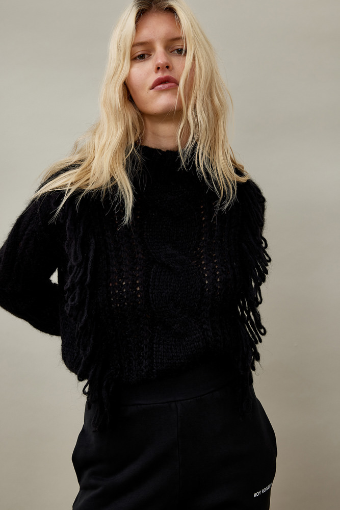 ROY ROGER'S HALF NECK SWEATER IN FRINGED MOHAIR