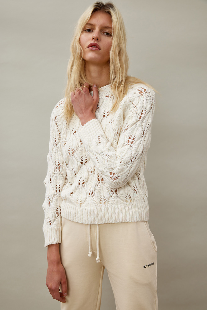 ROY ROGER'S PERFORATED HALF NECK SWEATER IN WOOL AND CASHMERE