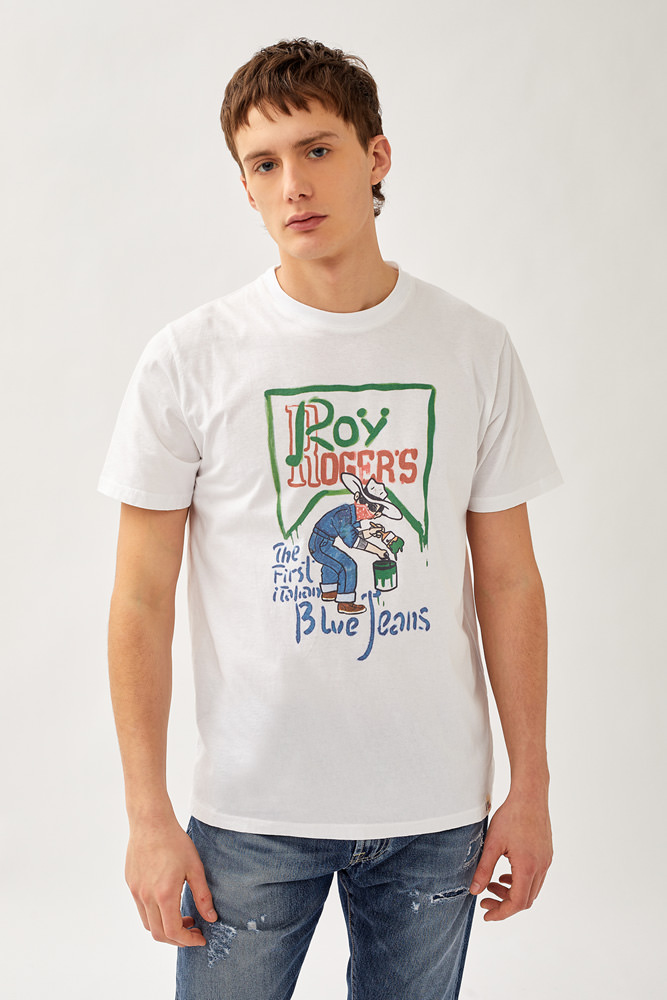 ROY ROGER'S BLUE JEANS PRINT T-SHIRT IN JERSEY