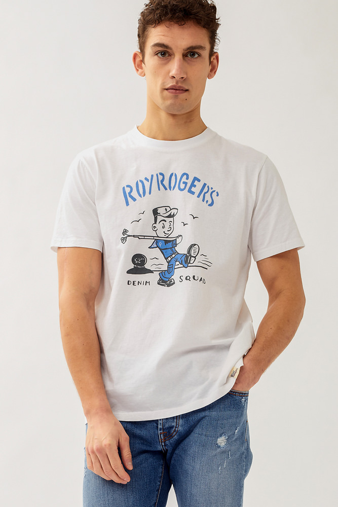 ROY ROGER'S SAILOR PRINT T-SHIRT IN JERSEY