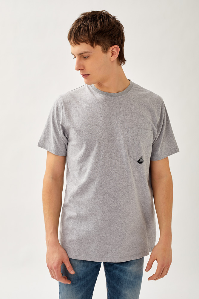 ROY ROGER'S T-SHIRT POCKET MELANGE IN JERSEY WASHED